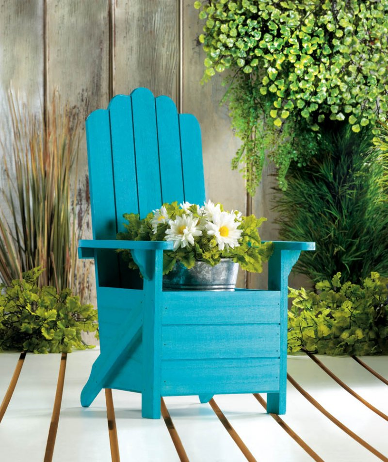 Image 0 of Wooden Blue Adirondack Chair Potted Plant Holder for Porch, Deck, Yard & Indoors