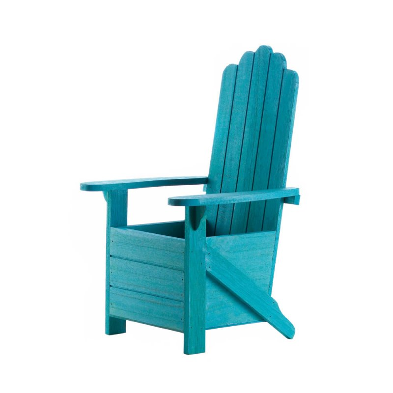 Image 1 of Wooden Blue Adirondack Chair Potted Plant Holder for Porch, Deck, Yard & Indoors