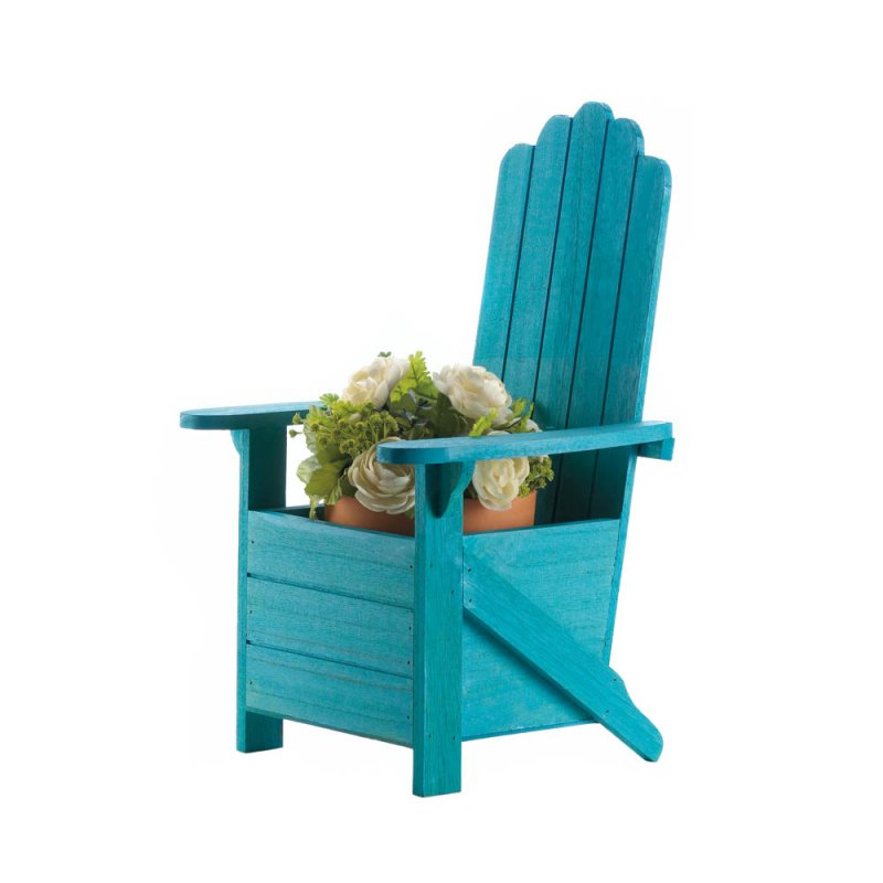Image 2 of Wooden Blue Adirondack Chair Potted Plant Holder for Porch, Deck, Yard & Indoors