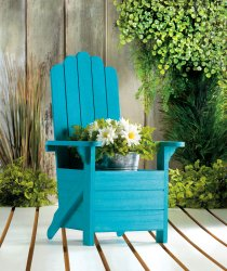 Wooden Blue Adirondack Chair Potted Plant Holder for Porch, Deck, Yard & Indoors