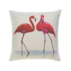 Pink Flamingo Couple Decorative Accent Throw Pillow Coastal Decor