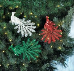1 Red, 1 Green & 1 White Sequin Peacocks Matching Gems Ornaments Holiday Decor