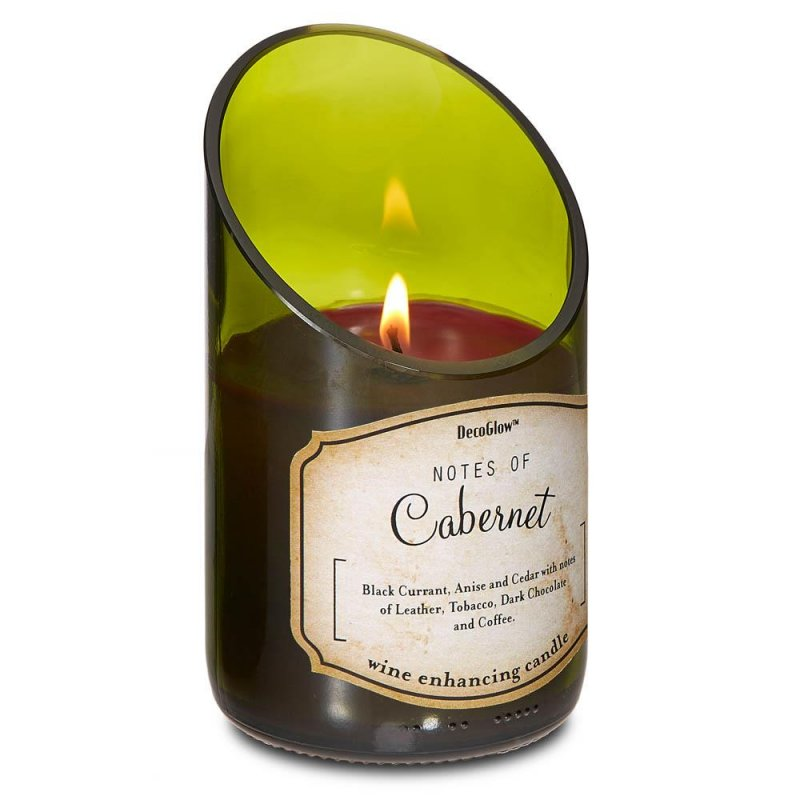 Image 0 of Green Glass Wine Bottle w/ Cabernet Scented Candle 40 Hours Burn Time