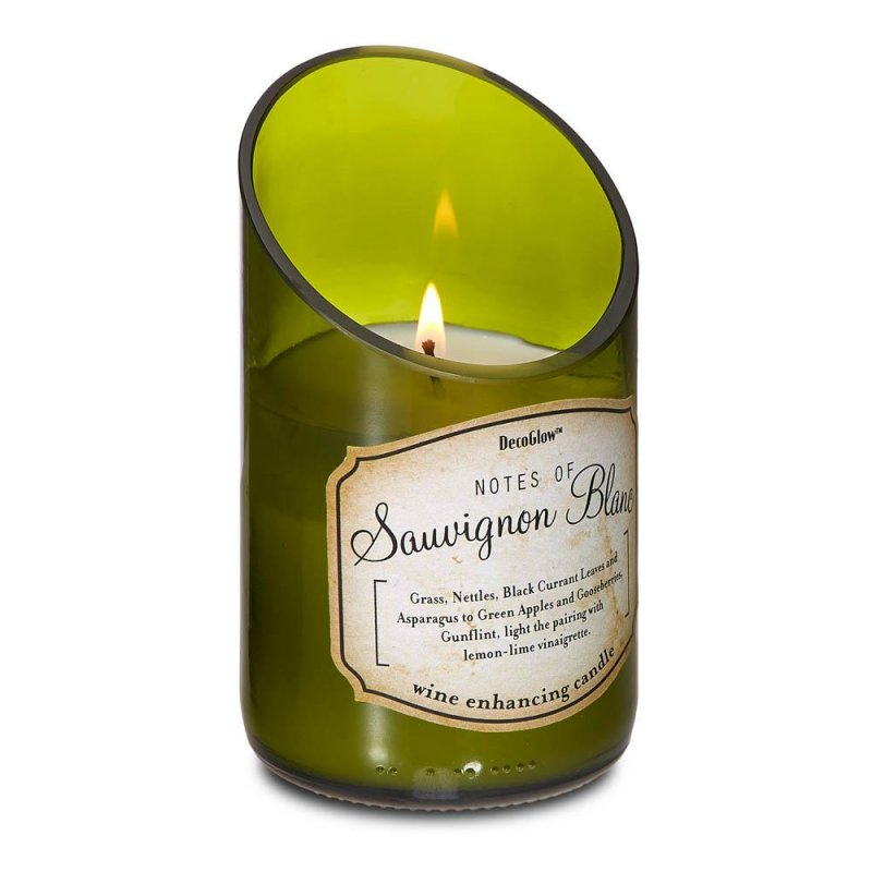 Image 0 of Green Glass Wine Bottle w/ Sauvignon Blanc Scented Candle 40 Hours Burn Time