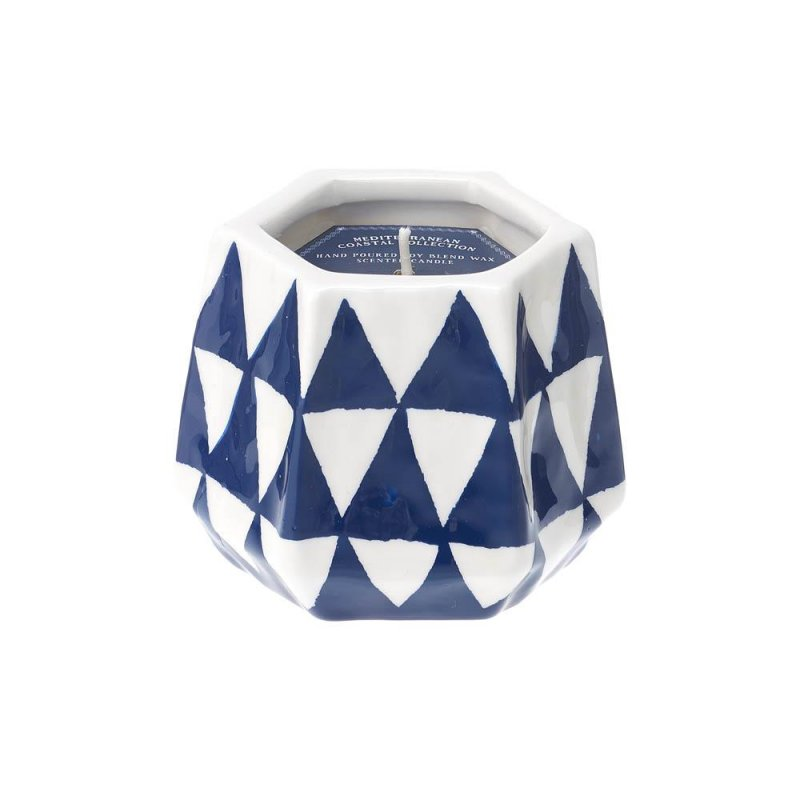 Image 0 of Blue & White Ceramic Candleholder Lemoncello Scented Candle 40 Hours Burn Time