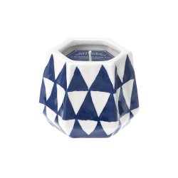 Blue & White Ceramic Candleholder Lemoncello Scented Candle 40 Hours Burn Time