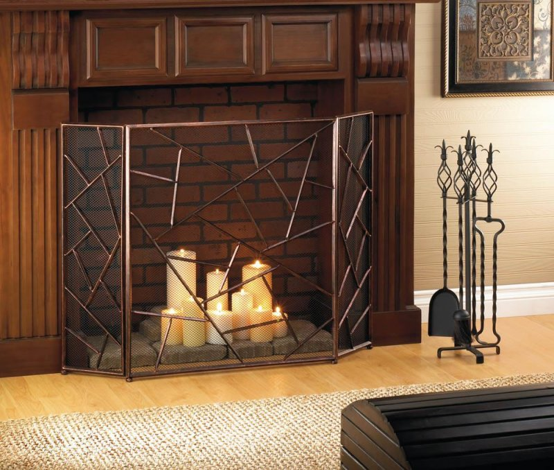Image 0 of Modern Design with Geometric Patterns Fireplace Screen