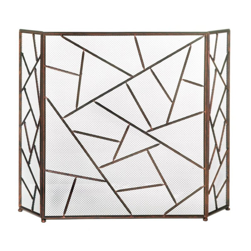 Image 1 of Modern Design with Geometric Patterns Fireplace Screen
