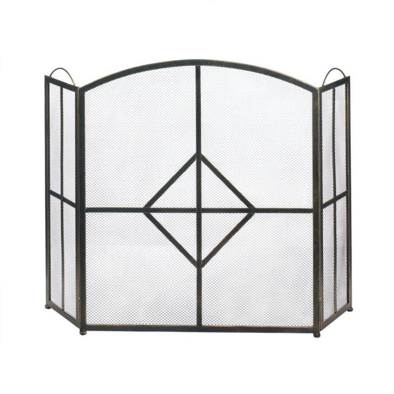 Image 0 of Sleek Modern Fireplace Screen with Bold Diamond Shape in Center