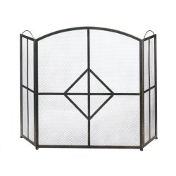 Sleek Modern Fireplace Screen with Bold Diamond Shape in Center