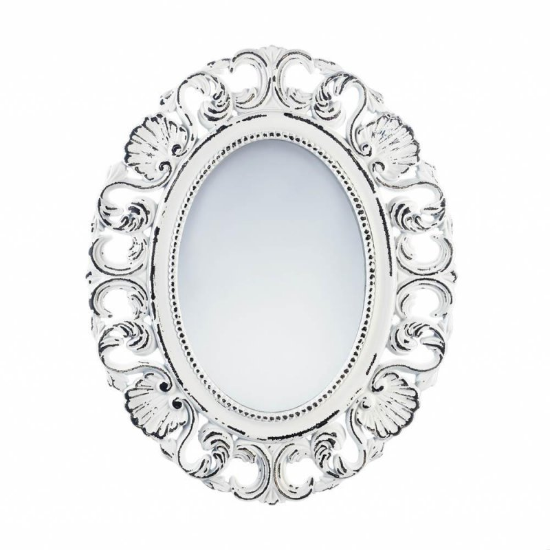 Image 0 of Distressed Off White Scalloped Frame Wall Mirror