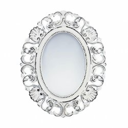 Distressed Off White Scalloped Frame Wall Mirror