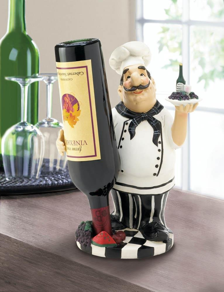 Image 0 of Italian Chef Carrying Tray with Grapes Wine Bottle Holder