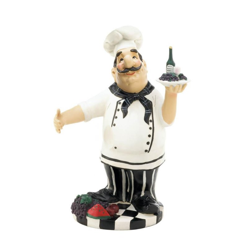Image 1 of Italian Chef Carrying Tray with Grapes Wine Bottle Holder