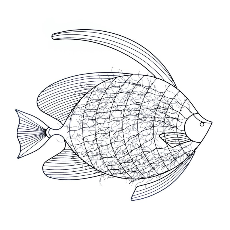 Image 0 of 3-Dimensional Intricate Fish Black Iron Wall Sculpture Nautical Decor