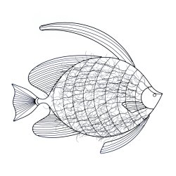 3-Dimensional Intricate Fish Black Iron Wall Sculpture Nautical Decor