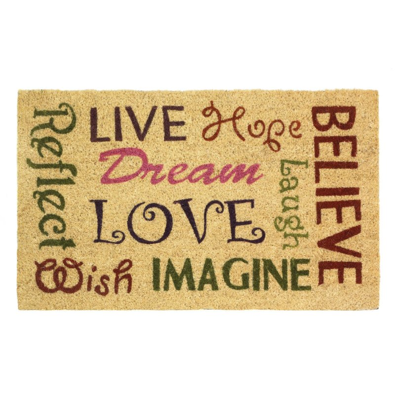 Image 0 of Inspirational Words of Wisdom in Colorful Fonts Outdoor Welcome Door Mat Rug