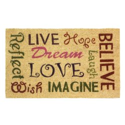 Inspirational Words of Wisdom in Colorful Fonts Outdoor Welcome Door Mat Rug
