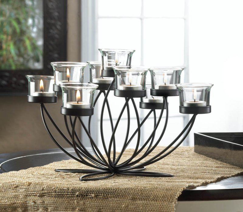 Image 0 of Black Iron Candle Holder Bloom Centerpiece with 9 Clear Candle Cups