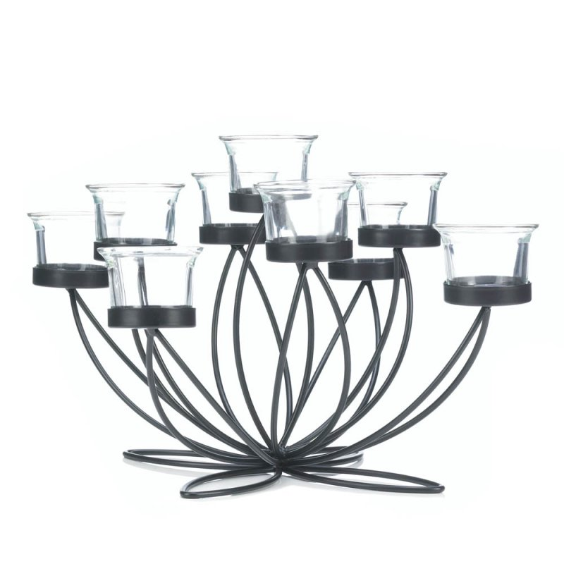 Image 1 of Black Iron Candle Holder Bloom Centerpiece with 9 Clear Candle Cups