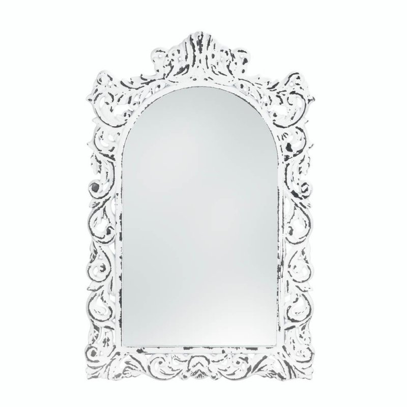 Image 0 of Vintage Style Distressed White Carved Ornate Flourishes Arched Frame Wall Mirror