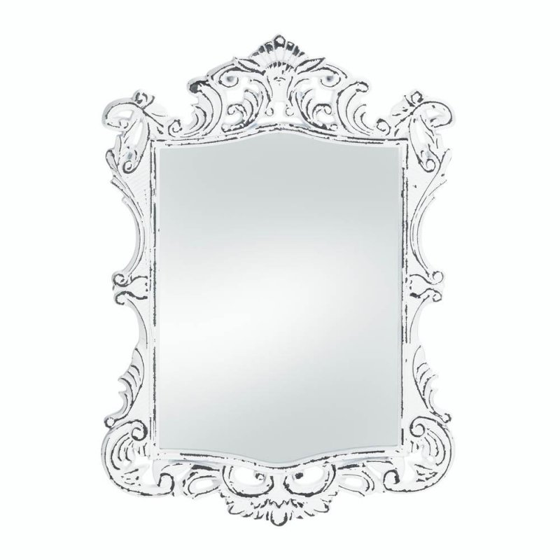 Image 0 of Regal Vintage Style Distressed White Flourishes & Curves Frame Wall Mirror