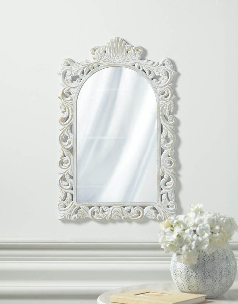 Image 0 of Vintage Style Distressed White Swirls &  Flourishes Frame Arched Wall Mirror