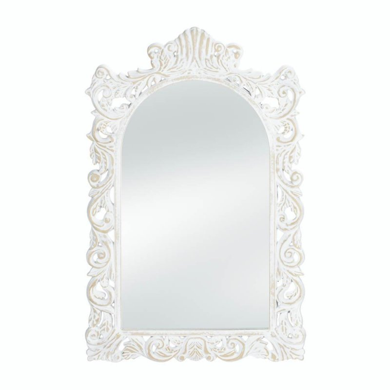 Image 1 of Vintage Style Distressed White Swirls &  Flourishes Frame Arched Wall Mirror
