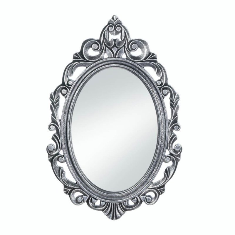 Image 0 of Royal Crown Swirls &  Flourishes Burnished Silver Frame Oval Wall Mirror