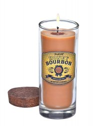Honey Bourbon Scented Candle in Clear Glass Jar with Lid 33 Hours Burn Time