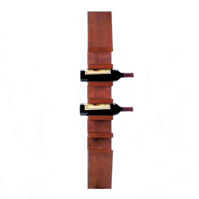 Image 1 of Sleek Contemporary Wooden Wall Mounted Wine Rack Holds 6 Bottles