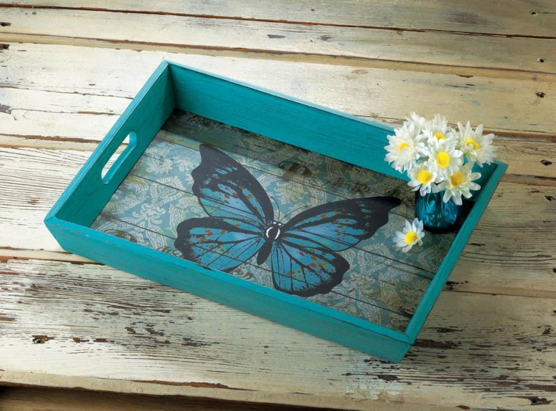 Image 0 of Weathered Blue Butterfly Theme Wooden Serving Tray Easy Grip Cutout Handles