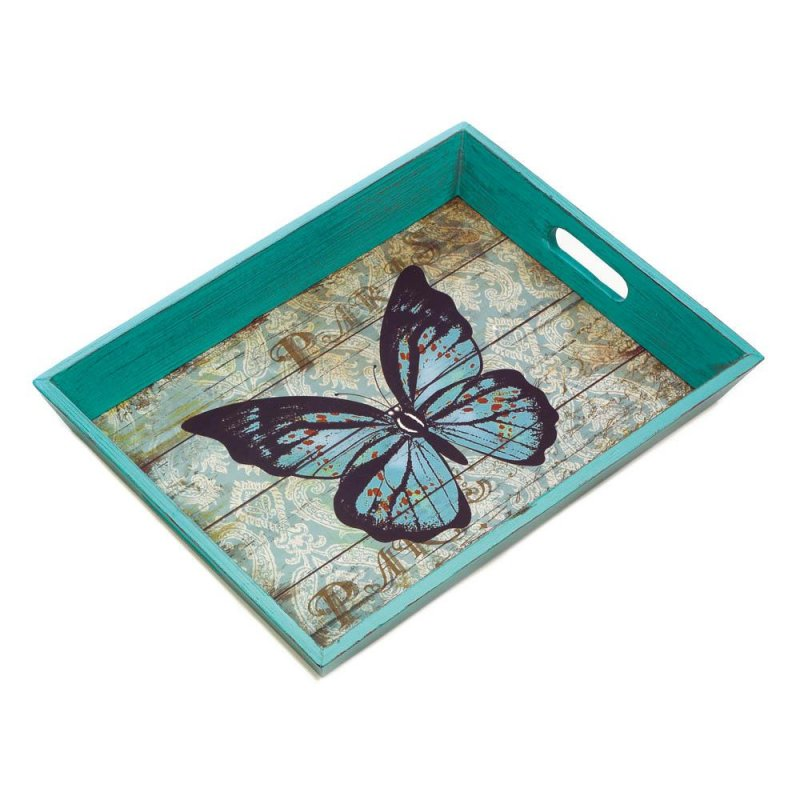 Image 1 of Weathered Blue Butterfly Theme Wooden Serving Tray Easy Grip Cutout Handles