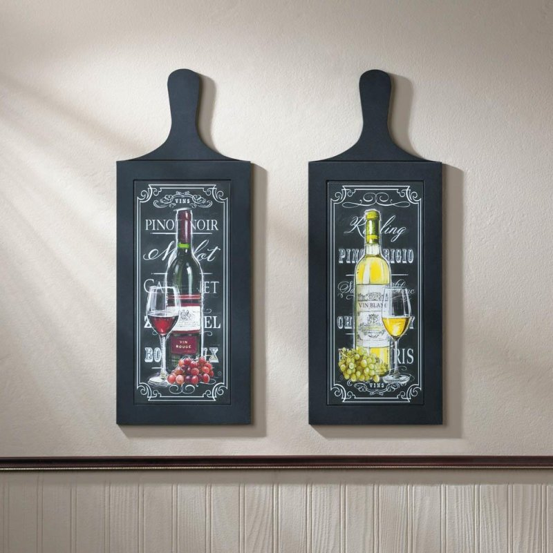 Image 0 of Set of 2 Wine Bottle Wall Art Plaques Perfect for Kitchen, Bar Decor