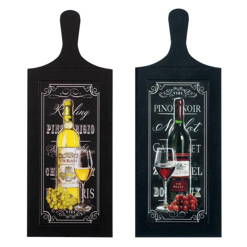Image 1 of Set of 2 Wine Bottle Wall Art Plaques Perfect for Kitchen, Bar Decor