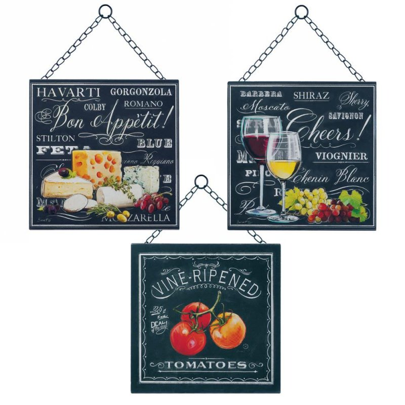 Image 1 of Set of 3 Bon Appetite Chalkboard Style Wall Plaques Kitchen, Dining Decor