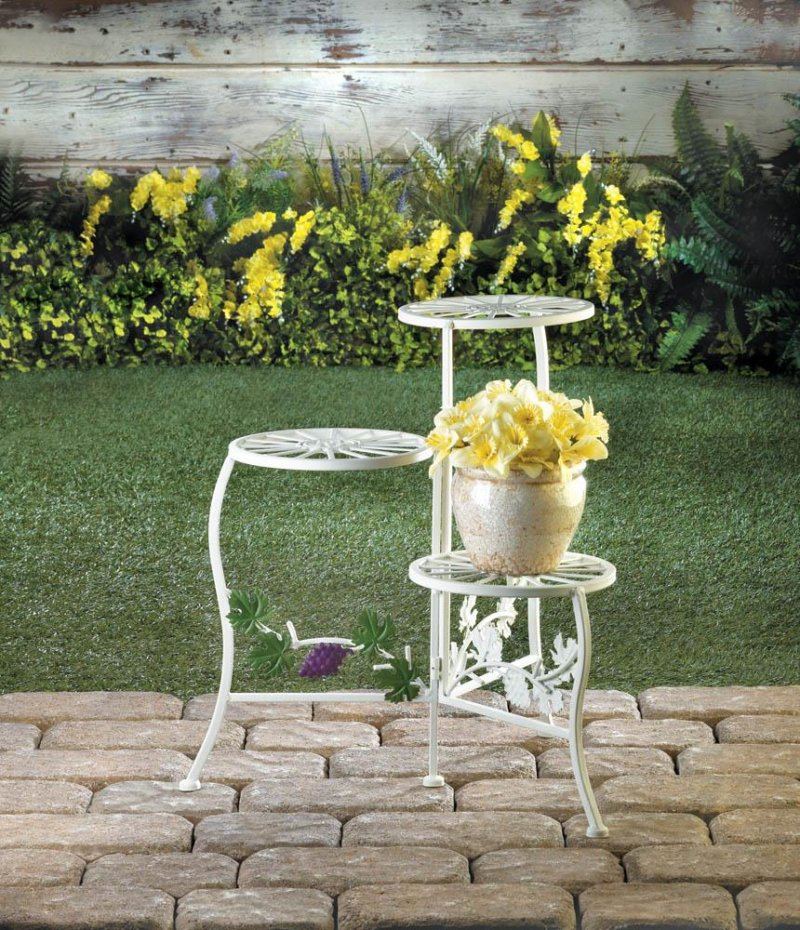 Image 0 of White Iron Triple Platform Plant Stand with Grapevine Flourishes Below