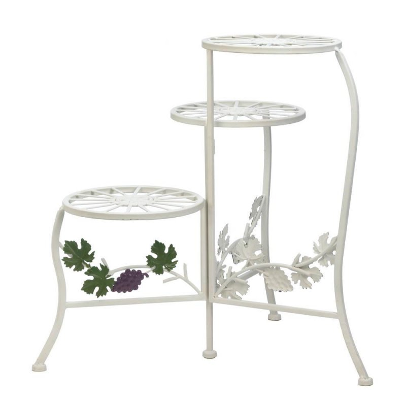 Image 1 of White Iron Triple Platform Plant Stand with Grapevine Flourishes Below