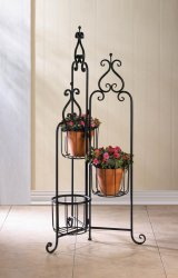 Victorian Style Black Iron Triple Basket Plant Stand with Flourishes on Top