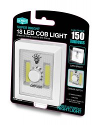 18 LED Cob Night Light Sticks to Most Surfaces or Hang on Wall