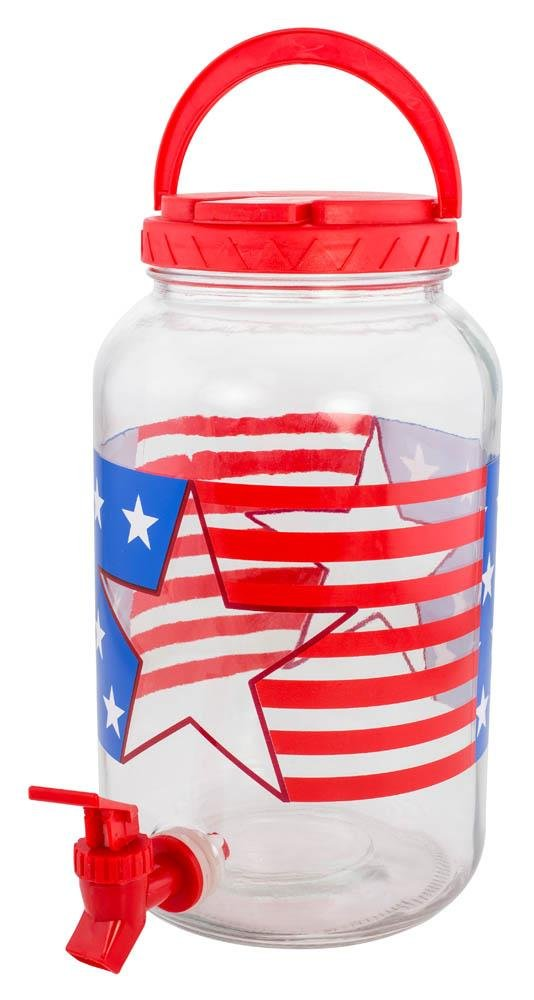 Image 0 of Patriotic Stars & Stripes Glass Lemonade,Tea Beverage Dispenser Holds 1 Gallon