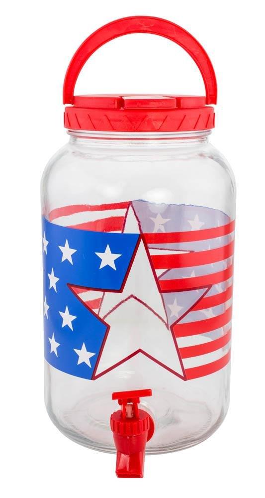 Image 1 of Patriotic Stars & Stripes Glass Lemonade,Tea Beverage Dispenser Holds 1 Gallon