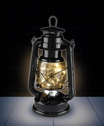 Black Colonial Twinkling Shimmer Lantern Features Dimmer Switch Battery Operated