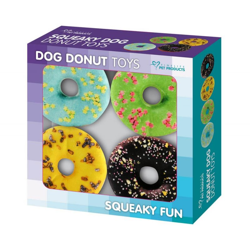 Image 2 of Set of 4 Donut Shaped Dog Squeaky Toys