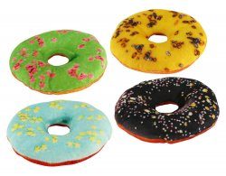 Set of 4 Donut Shaped Dog Squeaky Toys