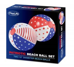 Set of 2 Patriotic Beach Balls in Red, White & Blue Stars and Stripes