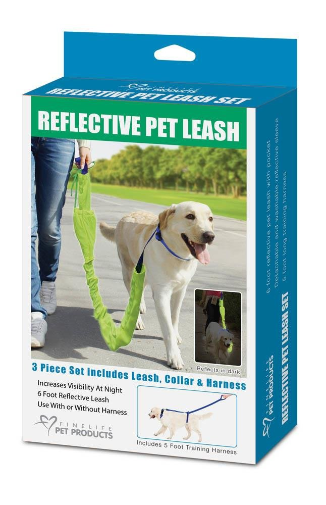 Image 0 of 3-Piece Reflective 6 Foot Dog Leash, 5 Foot Training Harness and Collar