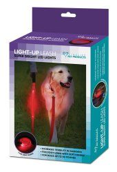 5 Foot Red Led Light Dog Leash Has 3 Mode Settings for Dogs up to 80 Pounds