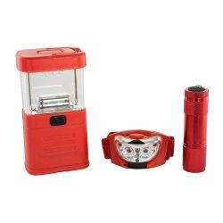 3-pc Emergency LED Lantern, Flashlight & Headlamp Great for Camping, Hiking