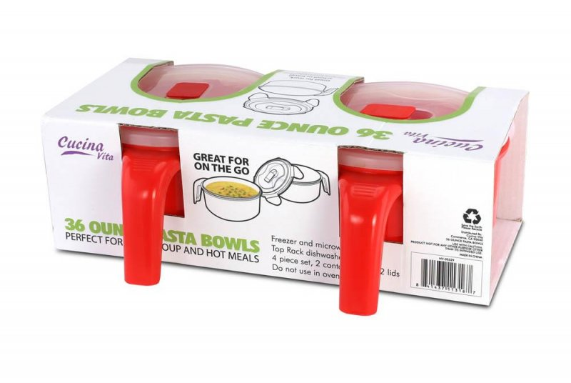 Image 1 of Pasta, Soup Bowl Set w/ Locking Lids For Lunches for Work, School or Left-Overs